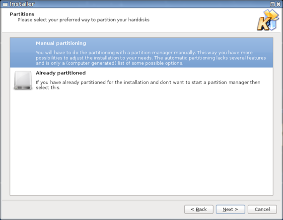 Acritox Installer - Partitioning